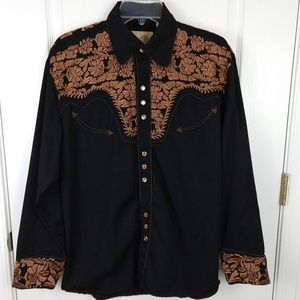 Scully  Western Embroidered Pearl Snap Shirt S